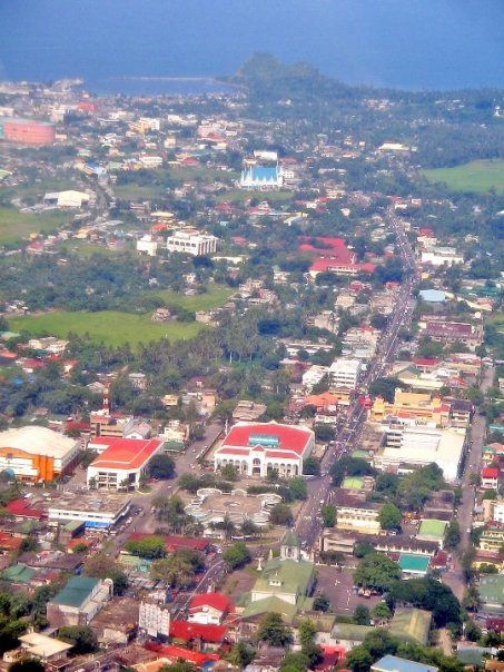 An aerial view of Albay District