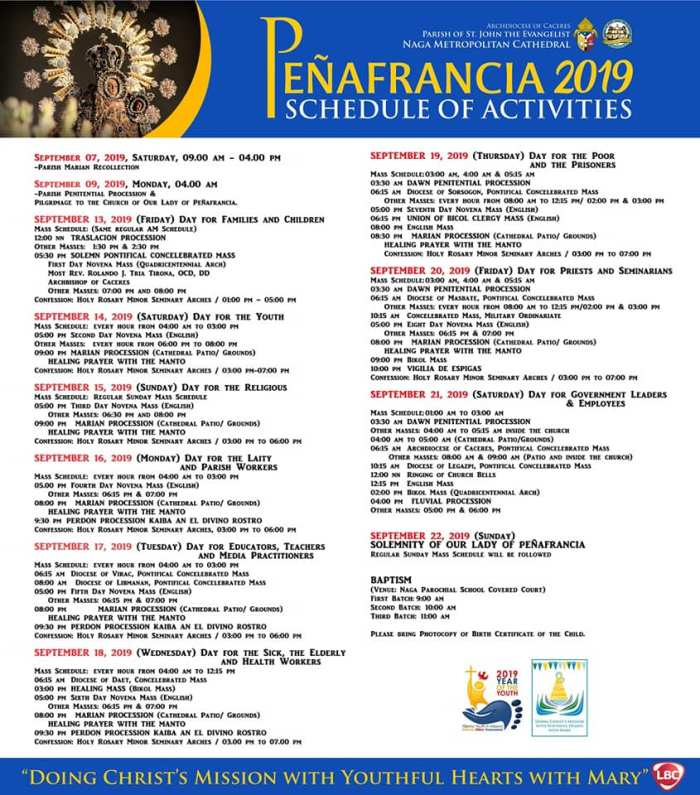 2019 penafrancia activities